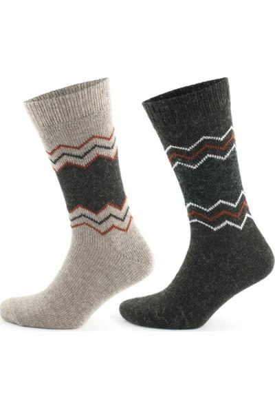 Go With Alaska Doğal Alpaka Yünü Mix Soft Yün Kışlık Çorap 4 Çift