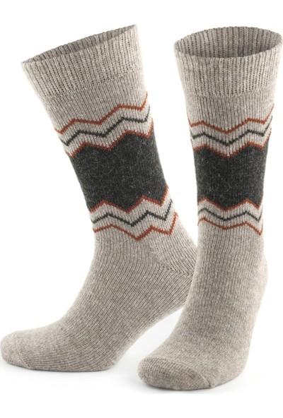 Go With Alaska Doğal Alpaka Yünü Bej Kahve Soft Yün Kışlık Çorap 2 Çift