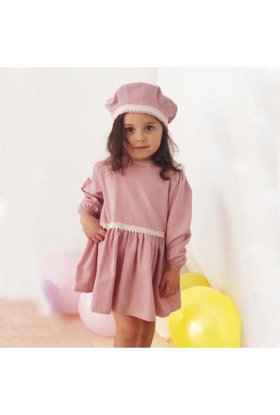Shecco Babba Kız Çocuk Elbise Şapka Takım Pudra
