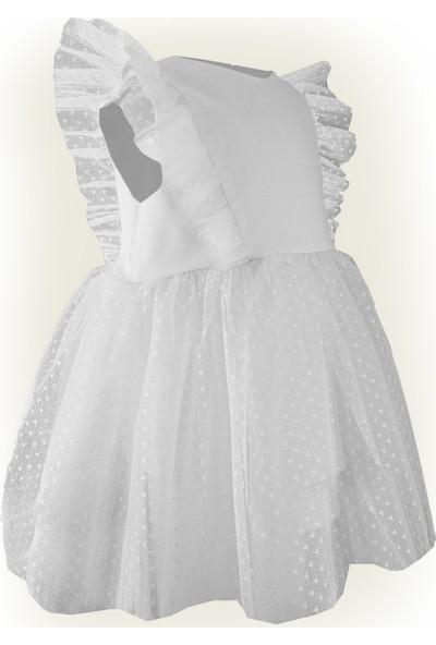 Shecco Babba Kız Çocuk Beyaz Dantel Detaylı Elbise Bandana Takım