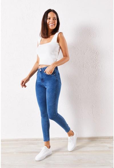 Zafoni Kadın Likralı Slim Açık Mavi Kot Pantolon P-00007442