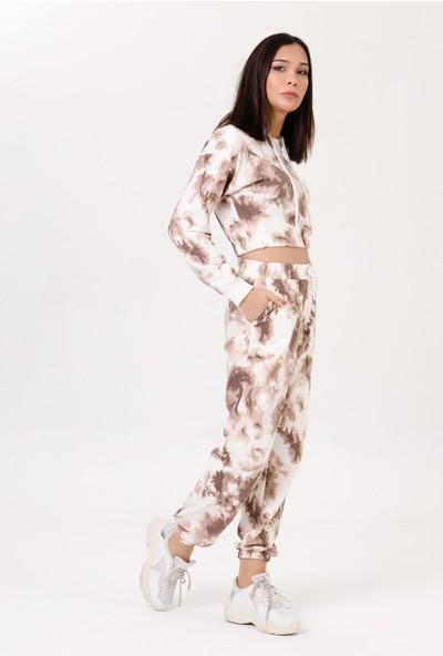 Harmoni Kadın Kapşonlu Batik Eşofman Takım Açık Kahverengi