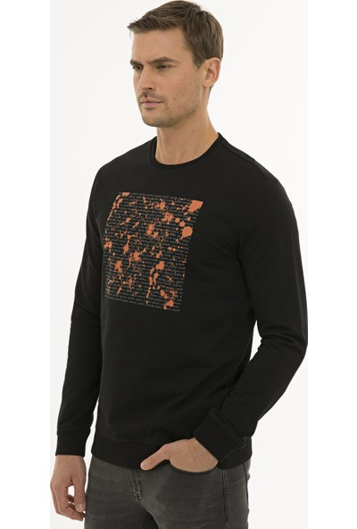 Pierre Cardin Siyah Standart Fit Sweatshirt 50235419-VR046