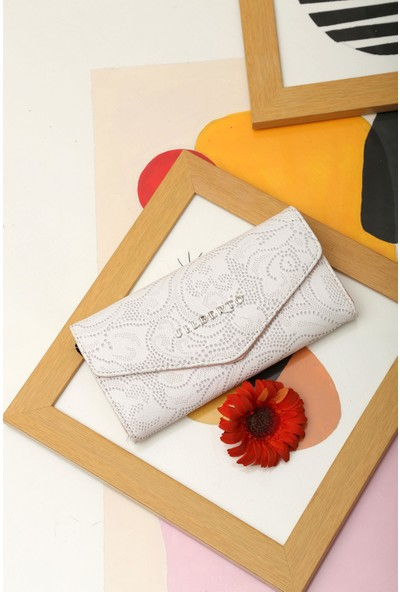 Limoya Melany Beyaz Çiçekli Zarf Cüzdan