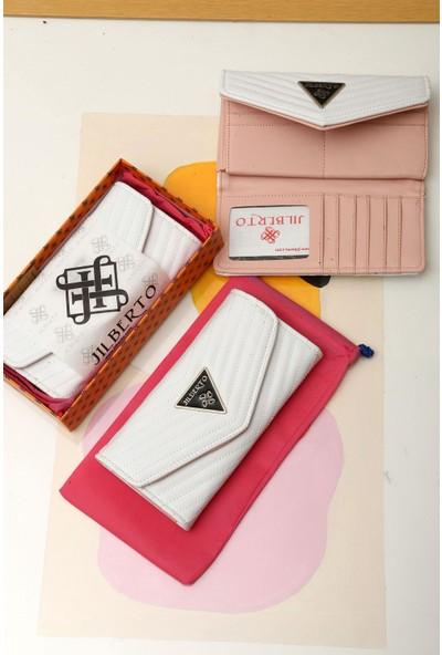 Limoya Kimora Beyaz Nakışlı Zarf Cüzdan