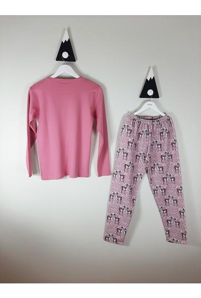 Vitmo Uzun Kollu Şardonlu Ceylan Baskılı Gülkurusu 13 Yaş Kız Pijama Takımı
