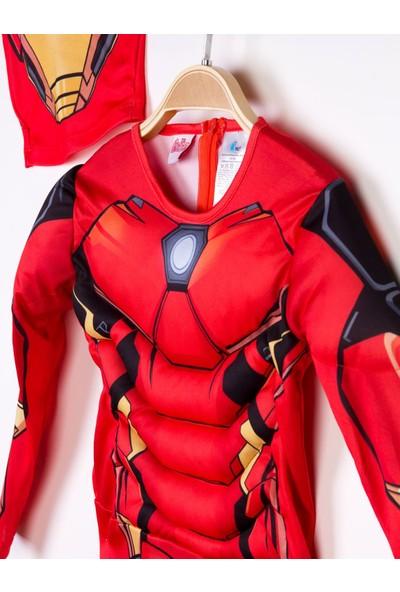 Iron Man Lisanslı Kaslı Çocuk Kostüm