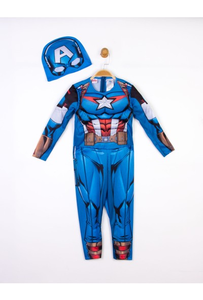 Kaptan Amerika Lisanslı Kaslı Çocuk Kostüm