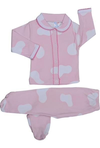 Bebeemm 6724 Damalı Önü Çıtçıtlı Pijama Takımı