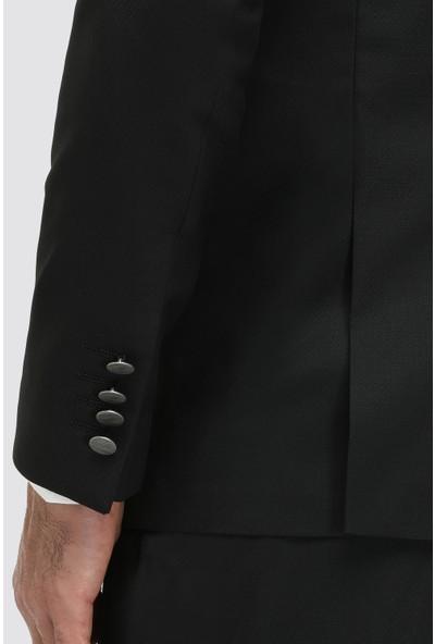Twn Slim Fit Siyah Armürlü Yelekli Takım Elbise