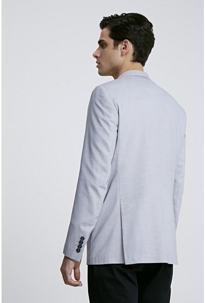 Twn Slim Fit Gri Armürlü Kumaş Ceket