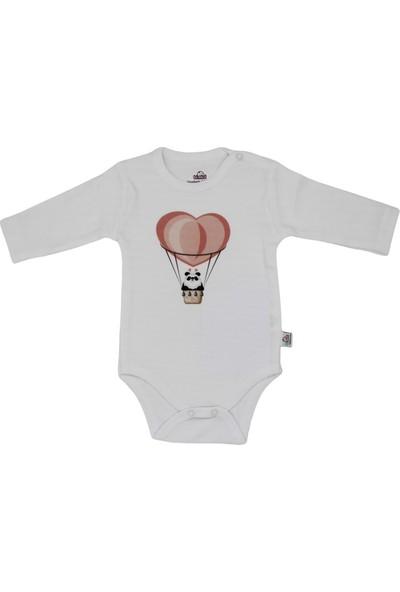Bimini Airballoon Ay Kız Erkek Bebek Uzun Kol Çıtçıtlı Badi Zıbın