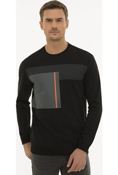 Pierre Cardin Erkek Siyah Standart Fit Sweatshirt 50235438-Vr046