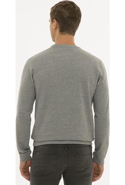 Pierre Cardin Erkek Gri Melanj Standart Fit Sweatshirt 50235439-Vr086