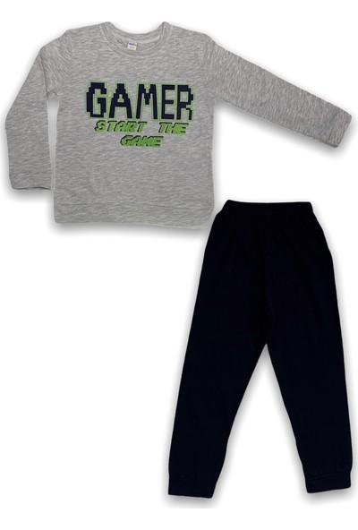 Minigo Gamer Baskı Çocuk Eşofman Takım Gri 5 Yaş