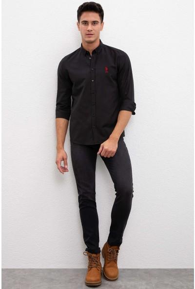 U.S. Polo Assn. Erkek Siyah Gömlek Uzunkol Basic 50233224-Vr046