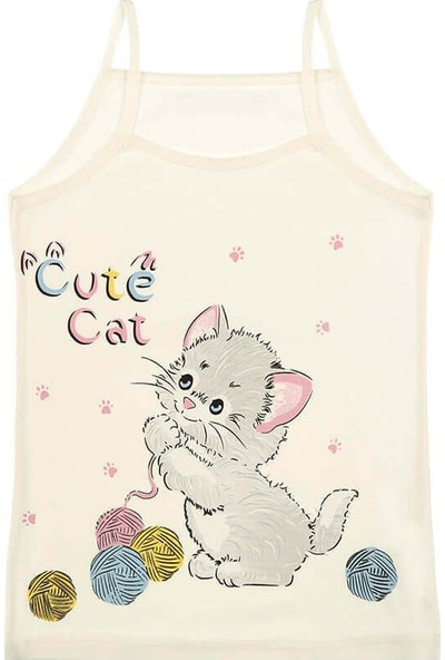 Donella 5'li Cute Cat Baskılı Kız Çocuk Atlet - 4371YM-5LI Renkli 10 - 11 Yaş