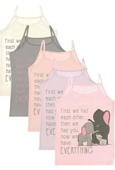 Donella 5'li Elephant Baskılı Kız Çocuk Atlet - 4371SE-5LI Renkli 6 - 7 Yaş