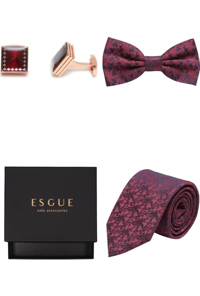 Esgue Papyon & Kol Düğmesi & Kravat Set