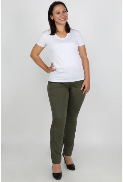Balins Büyük Beden Gabardin Kadın Pantolon Haki