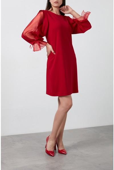 Ayhan Kolları Şifon Bisiklet Yaka Elbise Kadın Elbise 04660627 Kırmızı L