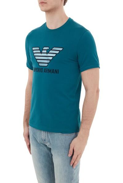 Emporio Armani % 100 Pamuklu Baskılı Bisiklet Yaka T Shirt Erkek T Shirt 3H1T67 1J30Z 0955 Petrol L