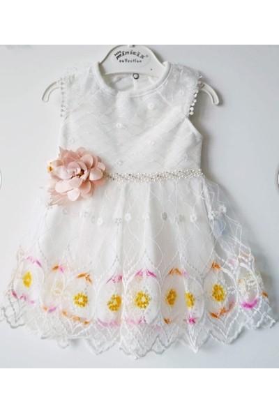 Minicix Beyaz Tüllü Çiçekli Beli Taşlı Kız Elbise