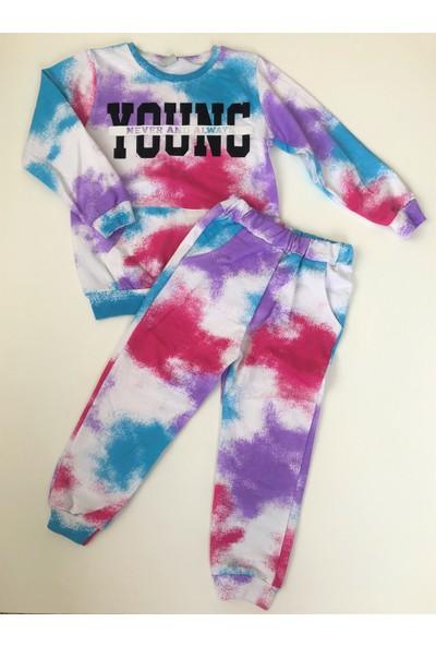 Kız Çocuk Renkli Batik Desen Eşofman Takım