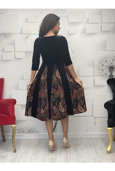 Gökmen Kotan Kadife Kiloş Elbise Siyah