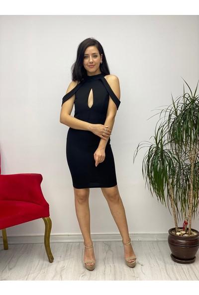 Gökmen Kotan Krep Abiye Elbise Siyah