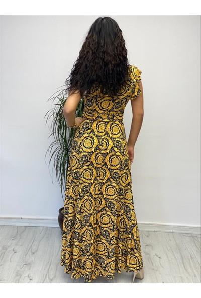 Gökmen Kotan Buzi Elbise Sarı Desenli