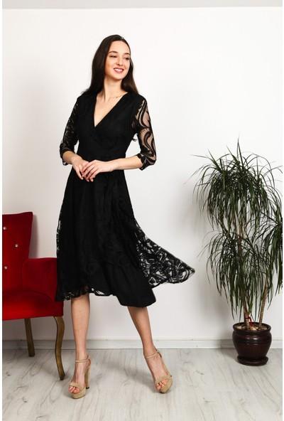 Gökmen Kotan Kruvaze Dantel Elbise Siyah