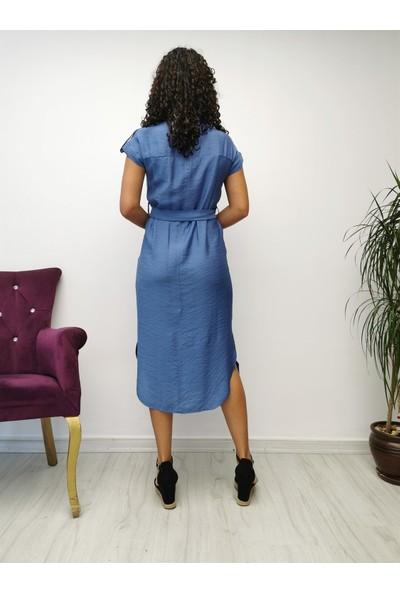 Gökmen Kotan Keten Elbise Mavi