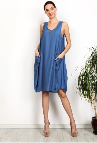 Gökmen Kotan Cepli Salaş Elbise Mavi