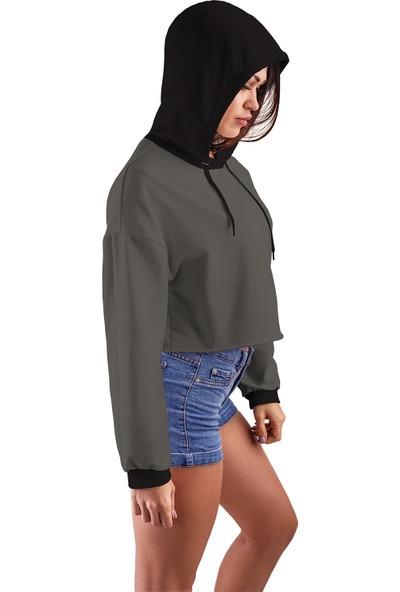 Acr Giyim Füme Kapüşonlu Crop Top Kadın Sweatshirt - 2 Iplik