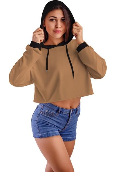Acr Giyim Sütlü Kahve Kapüşonlu Crop Top Kadın Sweatshirt - 2 Iplik