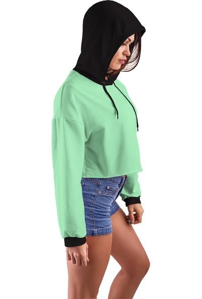 Acr Giyim Su Yeşili Kapüşonlu Crop Top Kadın Sweatshirt - 2 Iplik