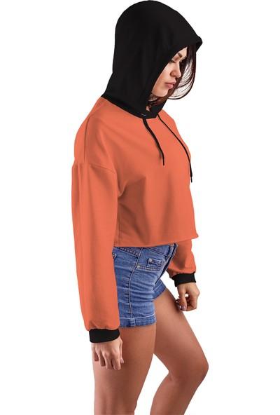 Acr Giyim Yavruağzı Kapüşonlu Crop Top Kadın Sweatshirt - 2 Iplik