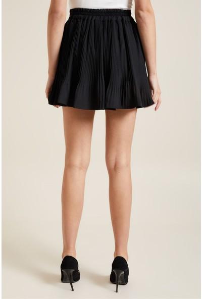 Z Giyim Kadın Siyah Diz Üstü Pliseli Etek [3837]