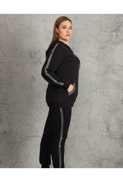 Işıltı fashion Kadın Kapşonlu Çizgili Eşofman Takımı