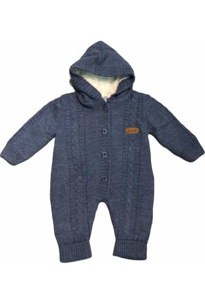 Şan Bebe Erkek Çocuk Mavi Triko Tulum