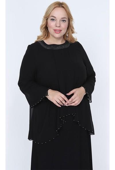 Perya Taş ve Boncuk Işlemeli Şifon Elbise Siyah Kadın Giyim