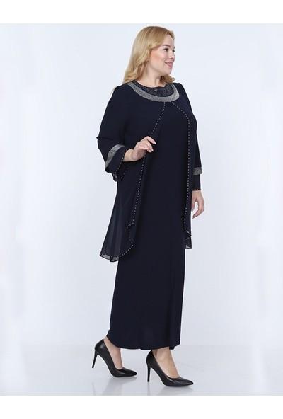 Perya Sim ve Taş Işlemeli Şifon Abiye Elbise Siyah Kadın Giyim