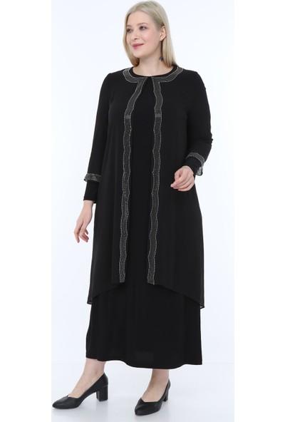 Perya Boncuk Işlemeli Şifon Abiye Elbise Siyah Kadın Giyim