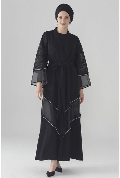 Zühre Dantel Detaylı Abaya Siyah Aby-0002