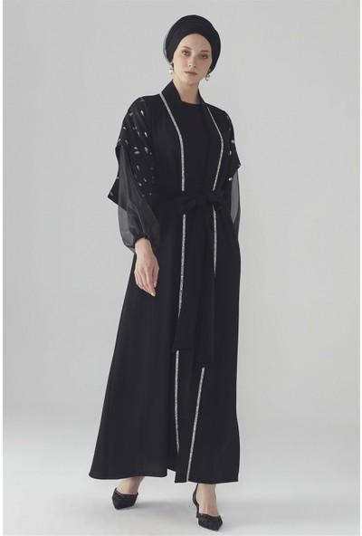 Zühre Sim Baskı Detaylı Abaya Siyah Aby-0007