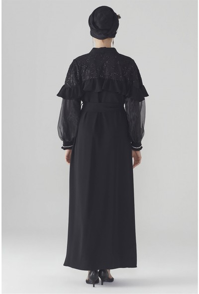 Zühre Kol Şerit Detaylı Abaya Siyah Aby-0013
