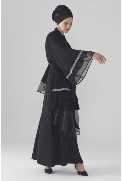 Zühre Taş Işleme Detaylı Abaya Siyah Aby-0009