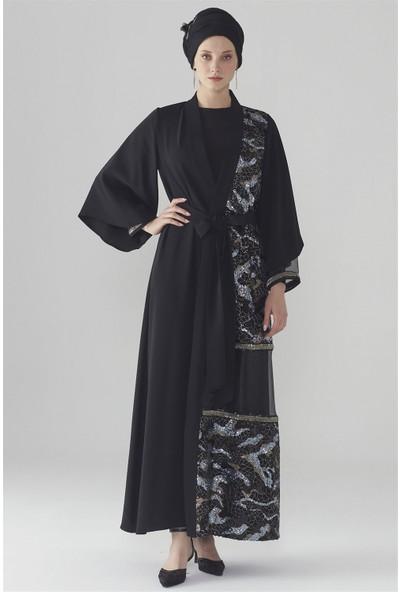Zühre Pul Payet Detaylı Abaya Siyah Aby-0006