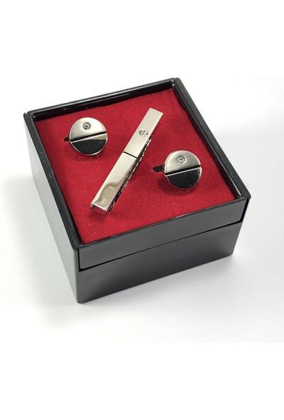 Pierroni Kol Düğmesi Taşlı ve Kravat Iğnesi Kutulu Set